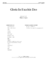 Gloria In Excelsis Deo - Orchestral Score and Parts