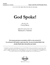 God Spoke! - Orchestral Score and CD with Printable Parts